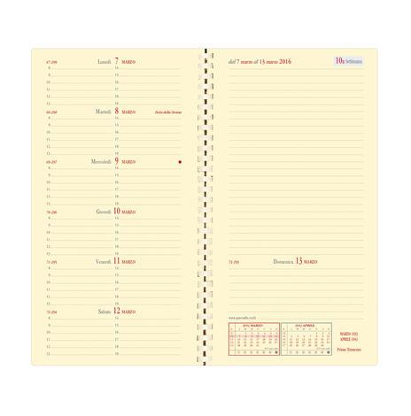 Agenda settimanale 2021, 13 mesi, Italnote Spirale Quo Vadis Impala Nero - con rubrica - 2
