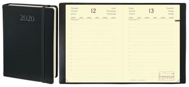 Agenda giornaliera 2019, 12 mesi, Daily Pocket Prestige Quo Vadis Habana con elastico. Nero