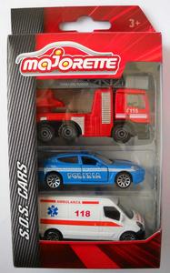 Giocattolo Majorette. Majo S.O.S.. Set Ambulanza, Macchina Polizia e Camion Vigili del Fuoco Majorette 0