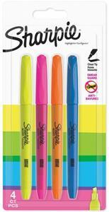 Cartoleria Evidenziatore Sharpie Pocket Accent punta scalpello. Confezione da 4. Giallo, rosa, blu, verde Sharpie