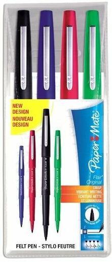 Penna con punta sintetica Paper Mate Flair Nylon. Confezione 4 colori assortiti