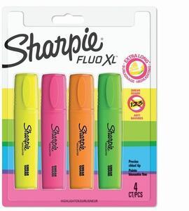 Cartoleria Evidenziatore Sharpie Fluo Xl punta scalpello. Confezione da 2. Giallo, rosa, arancione, verde Sharpie