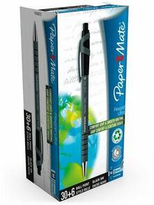 Penna a sfera a scatto Paper Mate Flexgrip Ultra Recycled nero. Confezione 36 pezzi
