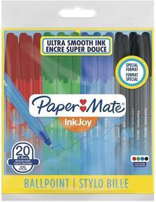 Penna a sfera Papermate Inkjoy 100 punta da 1,0 mm Colori Assortiti Nero, Blu, Rosso, Verde - Bag da 20