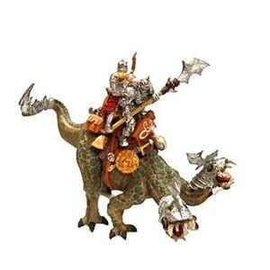 Giocattolo Dragons. Rettile d'attacco a due teste con 2 cavalieri Plastoy