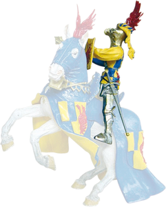 Giocattolo Cavalieri: Cavaliere Ali Blu, Rosso a Scacchi (a Piedi o Cavallo) Plastoy