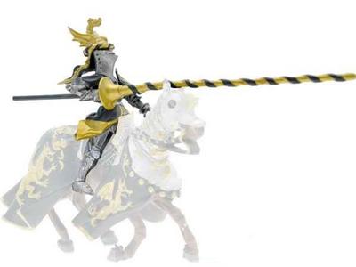 Giocattolo Cavalieri. Cavaliere con Elmo Drago Nero e Oro Plastoy 0