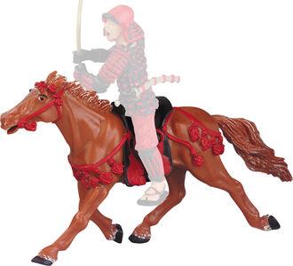 Giocattolo Samurai: Le Cheval Fauve Harnachement Rouge Plastoy