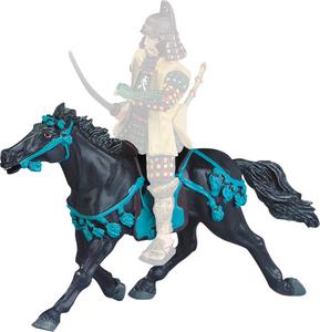Giocattolo Samurai. Le Cheval Noir Harnachement Bleu Plastoy 0