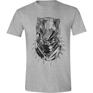 T-Shirt Unisex Tg. S Black Panther. Head Front Grey Melange