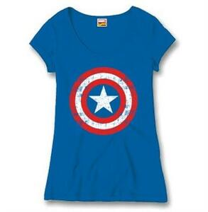 T-Shirt donna Captain America. Cracked Shield