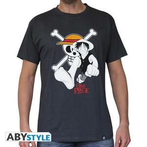 """One Piece. Tshirt """"Luffy & Emblem"""" Homme Dark Grey. Basic"""