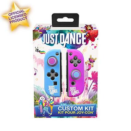 Just Dance 2019 Kit personalizzato Custodie in silicone di protezione per JoyCon, guscio morbido antiscivolo con accessori di precisione (Thumb grip Caps)  per Nintendo Switch Joy-Con controller