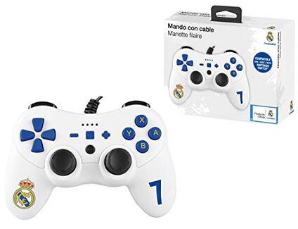 Subsonic Pro S Club Controller per Consola con Cavo Ultra Lungo 3 Metri, Vibrazione e Giroscopio, Calcio Real Madrid Nintendo Switch
