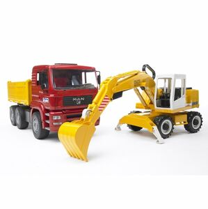 Giocattolo Camion Man con escavatore Liebherr Bruder (02751) Bruder
