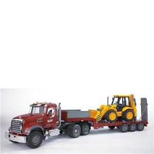 Giocattolo Camion Mack + Rimorchio + Escavatore (02813) Bruder 0