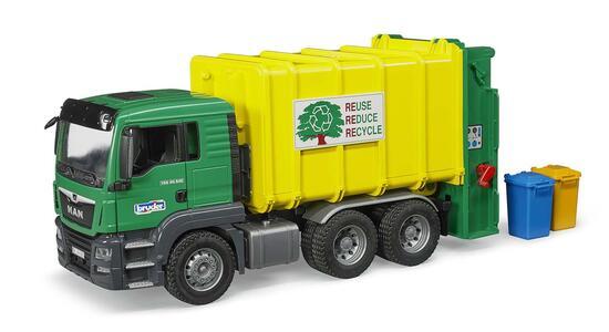 Bruder 03764. Man Tgs Camion Trasporto Rifiuti Carrello Posteriore Verde/Giallo - 3
