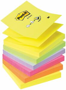 6 Pz 3M Post-it. 100 Foglietti Per Dispenser Z-notes. Colori Neon Assortito