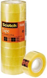 3M Post-it. Nastro Adesivo Scotch Trasparente Acrilico 19 mm x 33 m. 8 pezzi