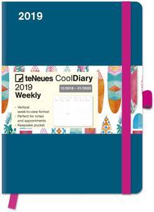 Diario 2018-2019, 14 mesi, TeNeues Cool Diaries large. Blu petrolio e Tiki