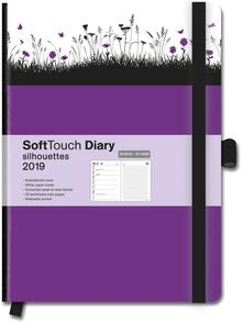 Diario 2018-2019, 14 mesi, TeNeues Softtouch Diaries large. Silhouettes Meadow. Viola