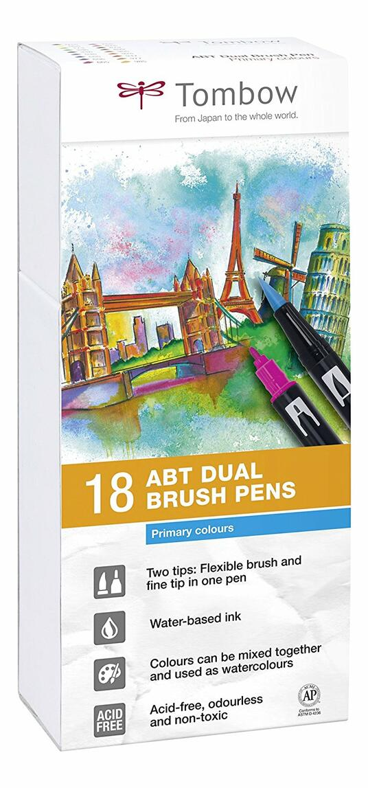 Pennarelli acquarellabili Dual Brush Tombow. Confezione 15+3 colori primari - 7