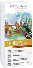 Cartoleria Pennarelli acquarellabili Dual Brush Tombow. Confezione 15+3 colori terrestri Tombow