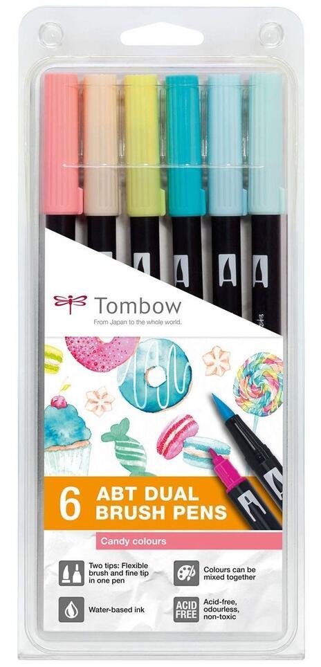 Pennarelli Tombow Dual Brush colori Candy. Set 6 colori (5 + 1 omaggio)
