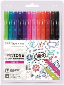 Pennarelli Marker Monto Twin Bright Tombow con doppia punta. Confezione 12 colori assortiti