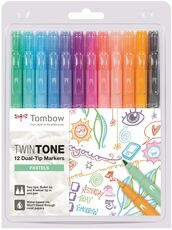 Cartoleria Pennarelli Marker Monto Twin Pastel Tombow con doppia punta. Confezione 12 colori assortiti Tombow