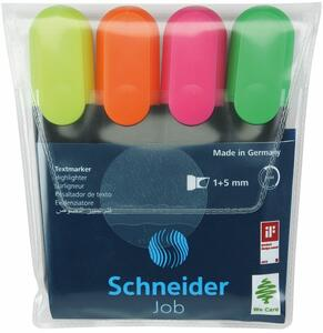 Cartoleria Evidenziatori Schneider Job. Astuccio 4 colori Schneider
