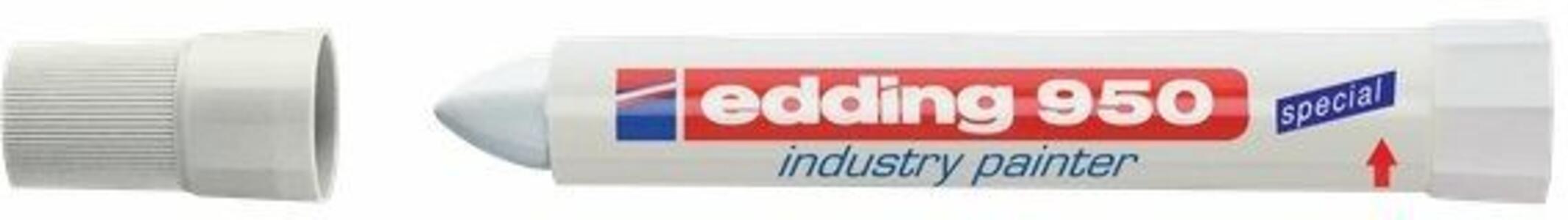 Marcatore a cera Edding 950 bianco punta tonda 10 mm