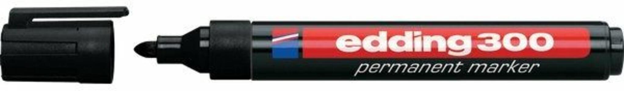 Marcatore permanente Edding 300 nero punta tonda 1,5-3 mm. Confezione 10 pezzi
