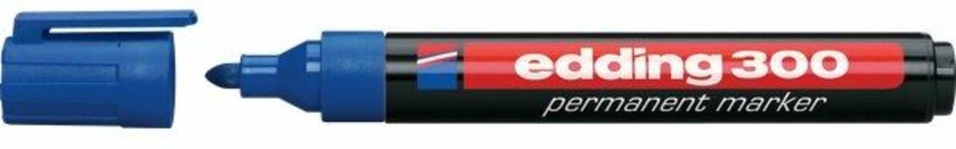 Marcatore permanente Edding 300 blu punta tonda 1,5-3 mm. Confezione 10 pezzi