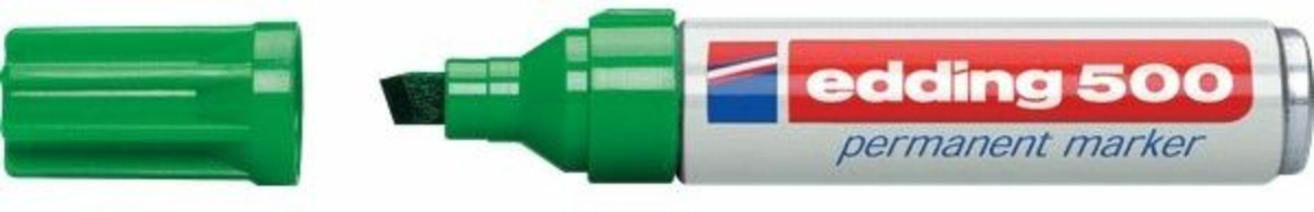 Marcatore permanente Edding 500 verde punta a scalpello 2-7 mm