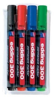 Marcatore permanente Edding 300 punta tonda 1,5-3 mm. Confezione 4 colori assortiti