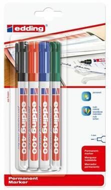 Marcatore permanente Edding 400. Confezione 4 colori assortiti