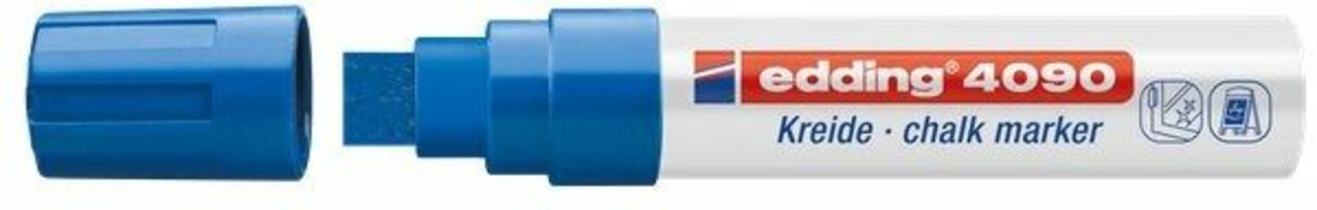 Marcatore a gesso liquido Edding 4090 blu punta a scalpello 4-15 mm