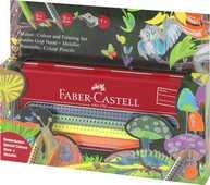 Cartoleria Set matite Jumbo Grip colorate - valigetta in metallo con 5+5 matite Jumbo metallic e neon Grip + temperamatite Faber-Castell