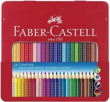 Matite colorate acquerellabili Faber-Castell Colour Grip. Astuccio metallo 24 colori