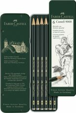 Cartoleria Scatola in metallo con 6 matite di grafite Castell 9000 assortite Faber-Castell