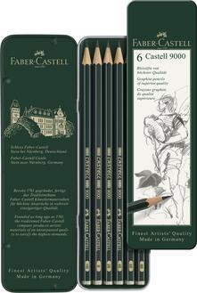 Scatola in metallo con 6 matite di grafite Castell 9000 assortite