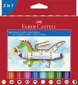 Cartoleria Astuccio con 10 pennarelli mini con doppia punta a stampino Faber-Castell
