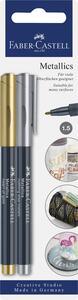Cartoleria Evidenziatore metallizzato Faber-Castell. Punta da 1,5 mm. Set da 2. Oro e argento Faber-Castell