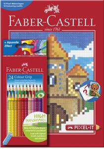 Set con 1 astuccio in cartone con 24 matite colorate Colour Grip + 1 Album da colorare Pixel-It