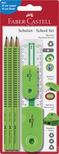 Blister Set scuola con 3 matite di grafite Grip 2001 fusto verde + righello + temperamatite + gomma