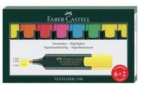 Cartoleria Confezione 6+2 evidenziatori Faber-Castell Textliner 48 Superfluorescent Faber-Castell