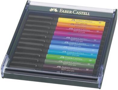 Penne Pitt Artist Pen Brush Faber-Castell colori brillanti. Confezione con coperchio trasparente 12 colori