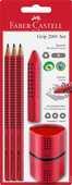 Cartoleria Blister con matite di grafite Grip 2001 fusto rosso Faber-Castell