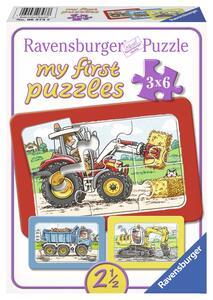 Escavatrice, trattore e camion ribaltab. Puzzle 3x6 pezzi Ravensburger (06573)